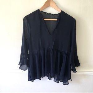 Zara basic navy flowy blouse